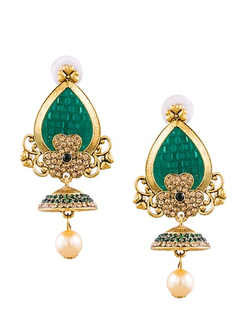 Sia Art Jewellery Gold-Toned & Green Leaf Shaped Jhumkas Sia Art Jewellery Earrings at myntra