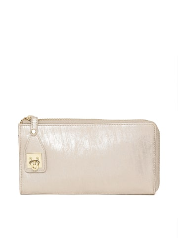 Baggit Women Gold-Toned Solid Zip Around Wallet Baggit Wallets at myntra