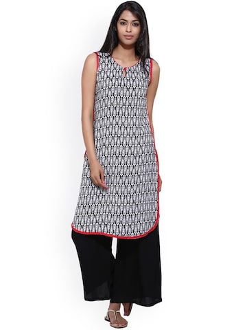 Aaboli Women White & Black Printed Straight Kurta Aaboli Kurtas at myntra