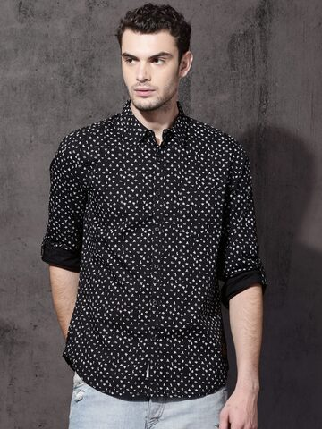 Roadster Men Black & White Regular Fit Printed Casual Shirt Roadster Shirts at myntra