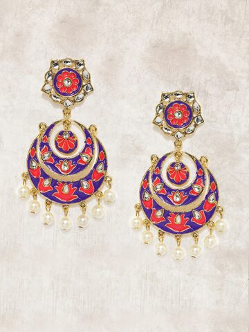 Anouk Purple & Coral Pink Crescent Shaped Chandbalis Anouk Earrings at myntra