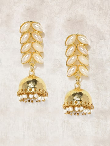 Anouk Gold-Toned & Off-White Beaded Jhumkas Anouk Earrings at myntra