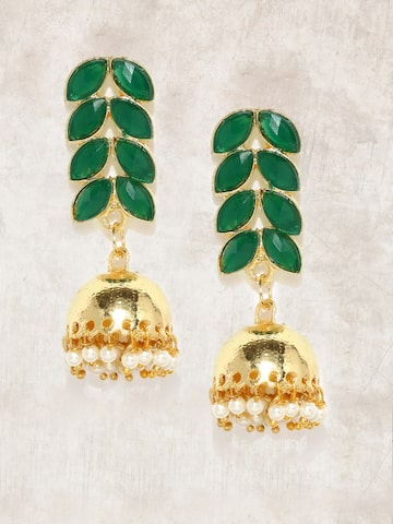 Anouk Gold-Toned & Green Leaf Shaped Jhumkas Anouk Earrings at myntra