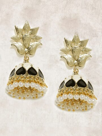 Anouk Gold-Toned & Black Beaded Dome Shaped Jhumkas Anouk Earrings at myntra