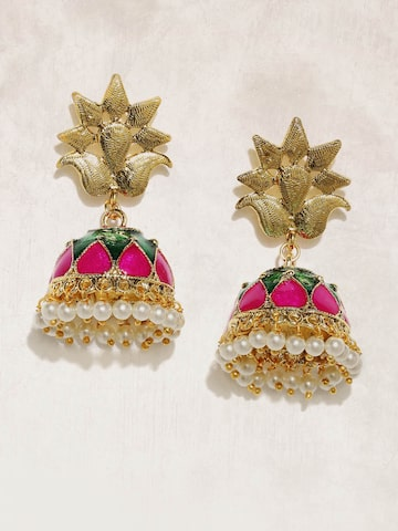 Anouk Gold-Toned & Pink Beaded Dome Shaped Jhumkas Anouk Earrings at myntra
