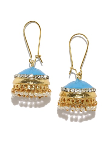 Anouk Gold-Toned & Blue Dome Shaped Jhumkas Anouk Earrings at myntra