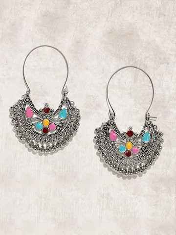 Anouk Silver-Toned & Pink Crescent Shaped Drop Earrings Anouk Earrings at myntra