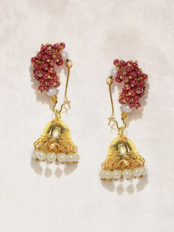 Anouk Gold-Toned & Red Dome Shaped Jhumkas Anouk Earrings at myntra