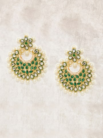 Anouk Gold-Toned & White Crescent Shaped Chandbalis Anouk Earrings at myntra