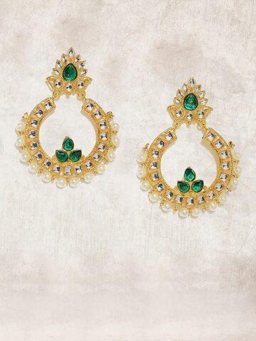 Anouk Gold-Toned & Green Circular Drop Earrings Anouk Earrings at myntra