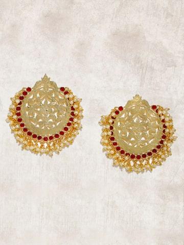 Anouk Gold-Toned & Maroon Circular Drop Earrings Anouk Earrings at myntra