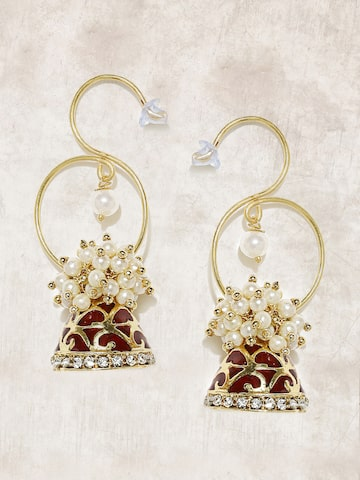 Anouk Gold-Toned & White Dome Shaped Jhumkas Anouk Earrings at myntra
