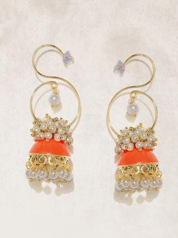 Anouk Gold-Toned & Orange Beaded Dome Shaped Jhumkas Anouk Earrings at myntra