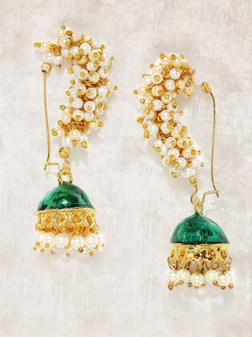 Anouk Gold-Toned & Green Dome Shaped Jhumkas Anouk Earrings at myntra