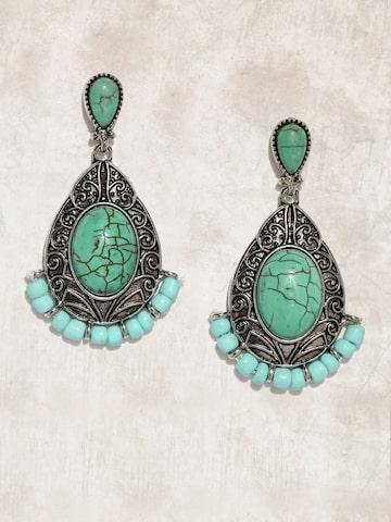 Anouk Silver-Toned & Blue Teardrop Shaped Drop Earrings Anouk Earrings at myntra