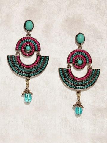 Anouk Teal & Pink Geometric Drop Earrings Anouk Earrings at myntra