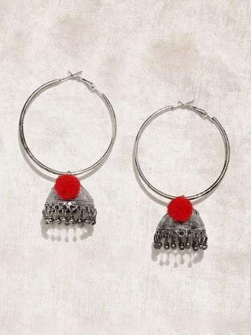 Anouk Oxidised Silver-Toned Circular Hoop Earrings Anouk Earrings at myntra