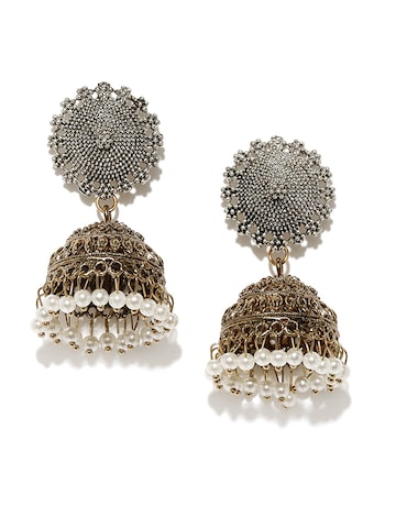Anouk Oxidised Silver-Toned & Antique Gold-Toned Dome-Shaped Jhumkas Anouk Earrings at myntra