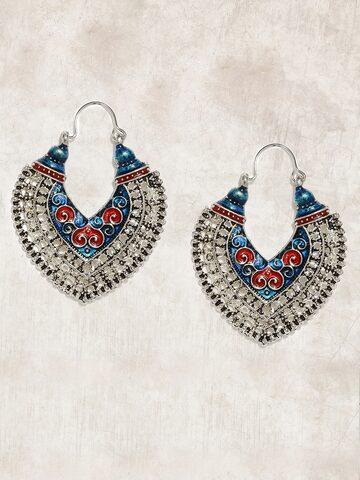 Anouk Silver-Toned Teardrop Shaped Drop Earrings Anouk Earrings at myntra
