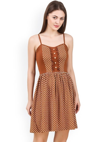 Texco Women Brown Printed Fit and Flare Dress Texco Dresses at myntra