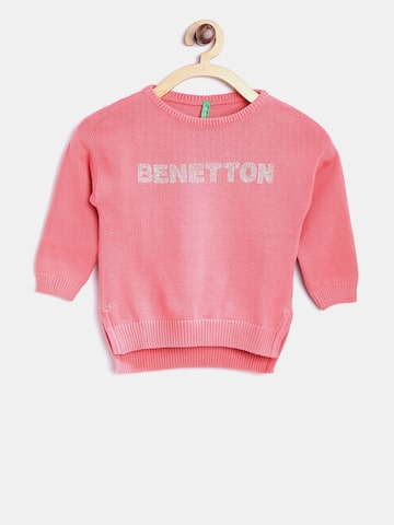 United Colors of Benetton Girls Pink Solid Sweater United Colors of Benetton Sweaters at myntra