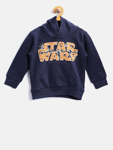United Colors of Benetton Boys Navy Blue Printed Hooded Sweatshirt United Colors of Benetton Sweatshirts at myntra