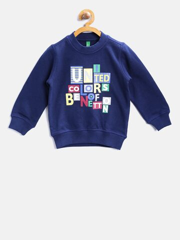 United Colors of Benetton Boys Navy Blue Printed Sweatshirt United Colors of Benetton Sweatshirts at myntra