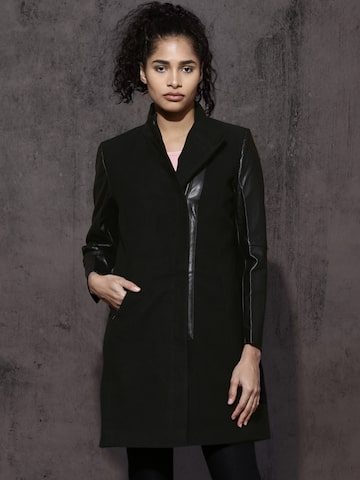 Roadster Black Coat Roadster Coats at myntra