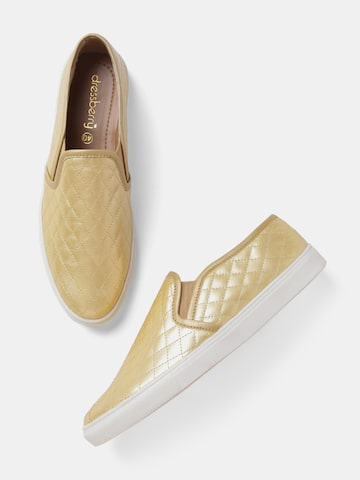 DressBerry Women Gold-Toned Slip-On Sneakers DressBerry Casual Shoes at myntra