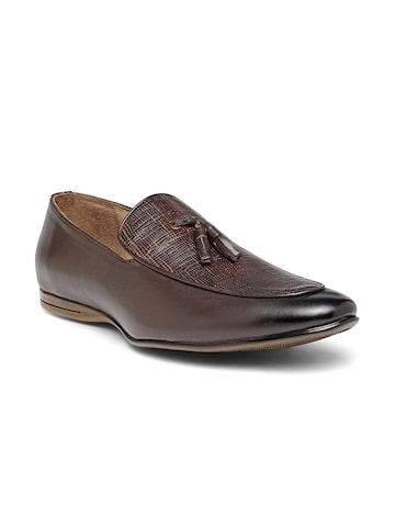 San Frissco Luxor Men Brown Textured Leather Loafers San Frissco Formal Shoes at myntra