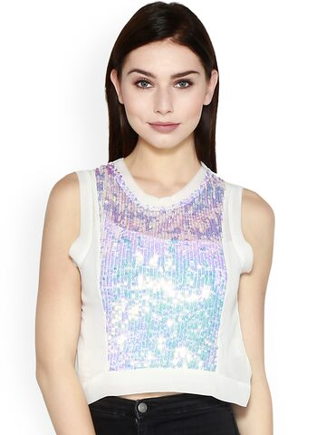 I AM FOR YOU Women White Sequinned High-Low Top I AM FOR YOU Tops at myntra