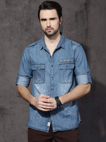 Roadster Men Blue Faded Denim Slim Fit Casual Shirt Roadster Shirts at myntra