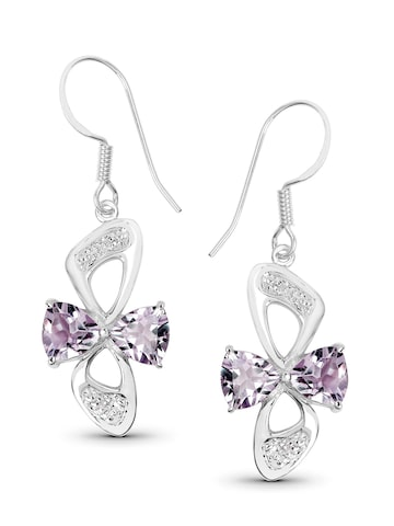 Johareez Silver-Toned & Pink Classic Drop Earrings Johareez Earrings at myntra