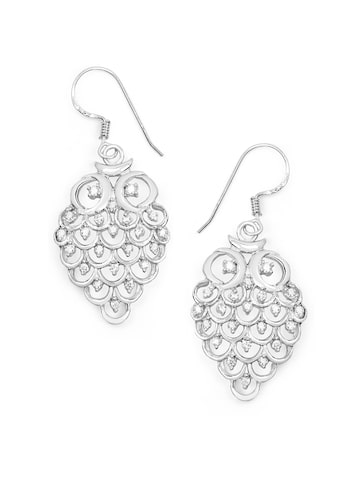 Johareez Silver Classic Drop Earrings Johareez Earrings at myntra