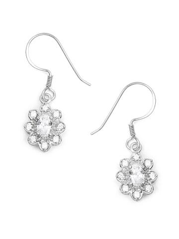 Johareez Silver Floral Drop Earrings Johareez Earrings at myntra