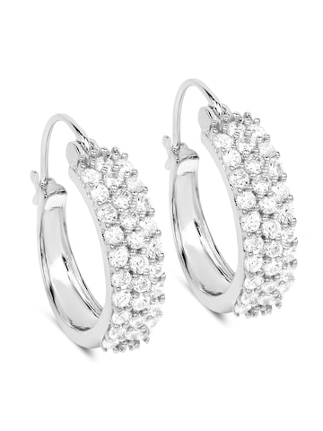 Johareez Silver-Toned & White Circular Hoop Earrings Johareez Earrings at myntra