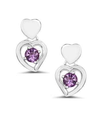 Johareez Silver Heart-Shaped Drop Earrings Johareez Earrings at myntra