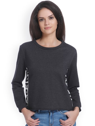 ONLY Women Charcoal Grey Solid Round Neck T-shirt ONLY Tshirts at myntra