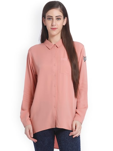 ONLY Women Peach-Coloured Boxy Solid Casual Shirt ONLY Shirts at myntra