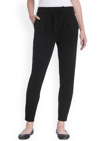 ONLY Women Black Slim Fit Solid Pleated Trousers ONLY Trousers at myntra