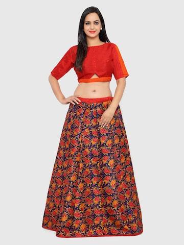 Triveni Blue & Red Floral Print Art Silk Semi-Stitched Lehenga Choli Triveni Lehenga Choli at myntra