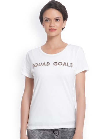 ONLY Women White Printed Round Neck T-shirt ONLY Tshirts at myntra