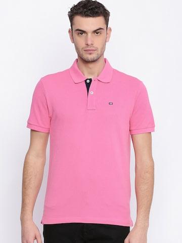 Arrow Sport Men Pink Solid Polo Collar T-shirt Arrow Sport Tshirts at myntra