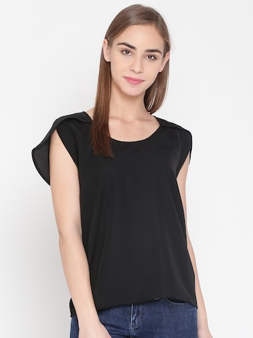 United Colors of Benetton Women Black Solid Top United Colors of Benetton Tops at myntra