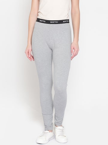 United Colors of Benetton Grey Melange Ankle-Length Leggings United Colors of Benetton Leggings at myntra