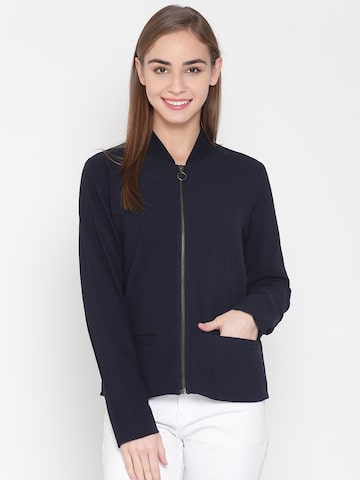 United Colors of Benetton Women Navy Blue Self-Design Tailored Jacket United Colors of Benetton Jackets at myntra