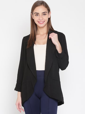 United Colors of Benetton Women Black Solid Open Front Jacket United Colors of Benetton Jackets at myntra