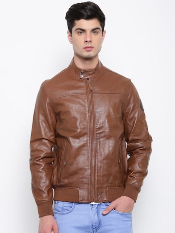 U.S. Polo Assn. Men Brown Solid Leather Biker Jacket U.S. Polo Assn. Jackets at myntra