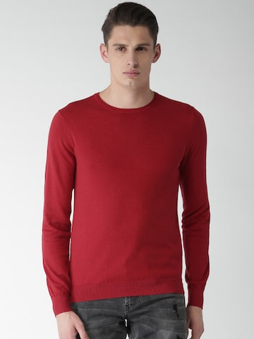 Celio Men Red Solid Pullover Celio Sweaters at myntra