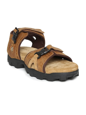 Woodland Men Brown Leather Sandals Woodland Sandals at myntra